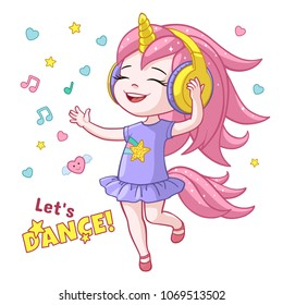 Vector cartoon lets dance poster with cute girl kid dancing in headphones wearing unicorn horn, pink tail, smiling. Isolated white background illustration with stars, hearts music notes