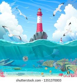 vector cartoon Lighthouse sea port nautical clipart