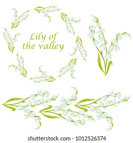 Vector cartoon lily of the valley spring flower illustration including wreath and flower border