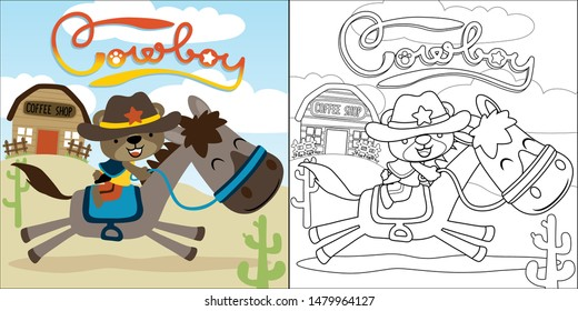 vector cartoon of little bear riding funny horse, coloring book or page
