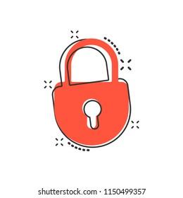 Vector cartoon lock icon in comic style. Padlock locker sign illustration pictogram. Padlock business splash effect concept.