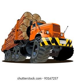 Vector cartoon logging truck