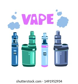 Vector cartoon logo for vape shop isolated on white background. With four vapes and clouds of steam.