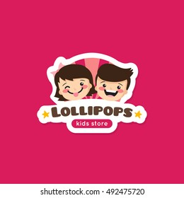 Vector cartoon lollipops store logo. Cute kids shop symbol with boy and girl heads