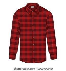 Vector Cartoon Long Sleeve Red Checkered Casual Men Shirt