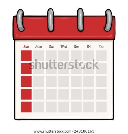 Vector Cartoon Looseleaf Blank Calendar Stock Vector Royalty Free