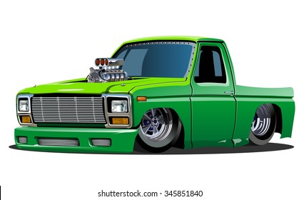 Vector cartoon lowrider pickup. Available EPS-10 format separated by groups for easy edit
