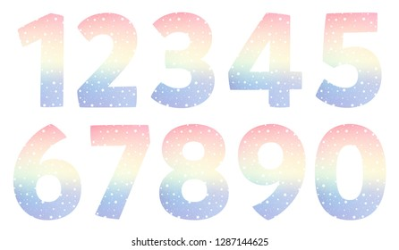 Vector cartoon magic numbers. Set of color numbers. The ten numbers from one to zero. Isolated illustration
