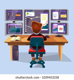 Vector cartoon male trader, financial, data analyst character sitting monitoring graph diagram chart monitors office workplace monitor. Business man, stock currency exchange market research concept