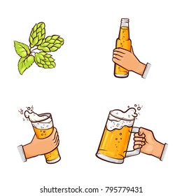 vector cartoon man hands holding thin and big mugs of golden lager cool beer with thick foam, and bottle of beer and green hop cones, leaves with stem. isolated illustration on a white background.