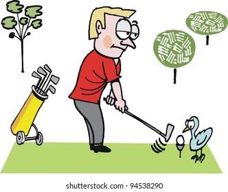 Vector cartoon of man on golf course with bird.