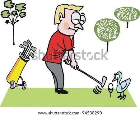 Vector Cartoon Man On Golf Course Stock Vector (Royalty Free ... on cartoon golf club clip art, cartoon golf club swing, the step to draw a cartoon golf club, cartoon man golf club,