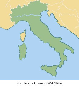 Vector cartoon map of Italy for children.