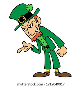 Vector Cartoon Mean Leprechaun Illustration