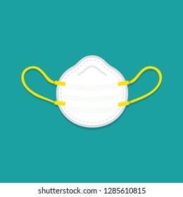 vector cartoon medical mask, respirator, dust mask / flat, isolated, circle, sign and icon template