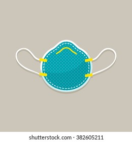 vector cartoon medical mask, respirator, dust mask / flat style, icon, sign / blue