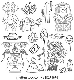 Vector cartoon  mexican icons with faces, masks,cactuses and other traditional elements on separate layers on white background