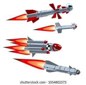 Vector Cartoon military missile set. Available EPS-10 vector format separated by groups and layers for easy edit