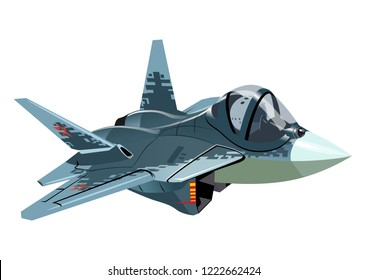 Vector Cartoon Military Stealth Jet Fighter Plane. Available EPS-10 vector format separated by groups and layers for easy edit