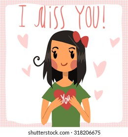 Vector cartoon I miss you flat greeting card. For game presentation, user interface tablet, smart phone. With cute girl.