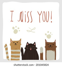 Vector cartoon I Miss You postcard with funny cats. For ui, web games, tablets, wallpapers, and patterns.