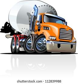Vector Cartoon Mixer Truck one click repaint option