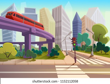 Vector Cartoon modern city panorama with glass skyscrapers and high way subway cityscape background.