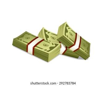 Vector cartoon money bundles illustration