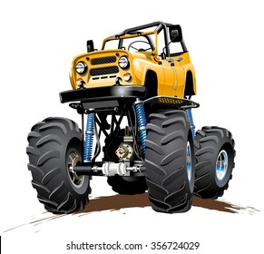Vector Cartoon Monster Truck. Available EPS-10 with transparency effects for one-click repaint