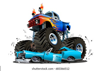 Vector Cartoon Monster Truck. Available EPS-10 separated by groups and layers with transparency effects for easy edit
