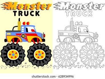 vector cartoon of monster truck, coloring book or page