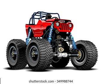 Vector Cartoon Monster Truck. EPS-10 separated by groups and layers