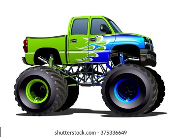 Vector Cartoon Monster Truck EPS-10 separated by groups and layers for one-click repaint