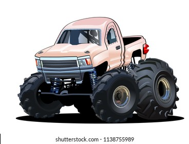 Vector Cartoon Monster Truck isolated on white. Available EPS-10 separated by groups and layers with transparency effects for one-click repaint