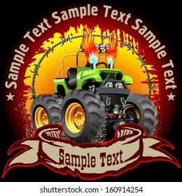 Vector Cartoon Monster Truck on grunge background. Eps10 with transparency effects, separated by groups and layers for easy edit