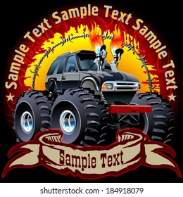 Vector Cartoon Monster Truck on grunge background. Eps10 with transparency effects, for one-click repaint