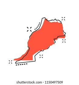 Vector cartoon Morocco map icon in comic style. Morocco sign illustration pictogram. Cartography map business splash effect concept.