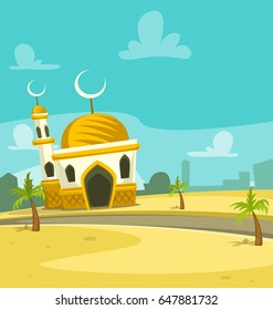 vector cartoon mosque building in arab desert environment with date palm trees illustration