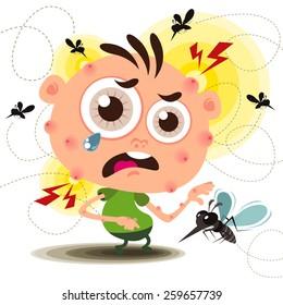 Vector of Cartoon Mosquito bite