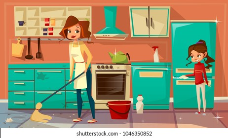 Vector cartoon mother daughter girl helps cleaning kitchen together, doing household chores. Female women characters wiping floor, dust interior furniture cupboard fridge cooking stove, microwave oven