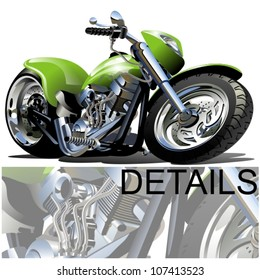 Vector Cartoon Motobike. Available eps-10 format separated by groups and layers with transparency effects for one-click repaint.