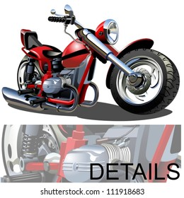 Vector Cartoon Motobike. Available eps-10 format separated by groups and layers for easy edit