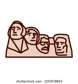 Vector Cartoon Mount Rushmore Emoji Icon Isolated