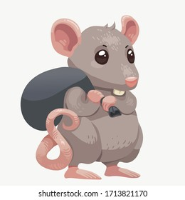 Vector cartoon mouse with tiny black sack. Cute gray rat with trash bag isolated on white