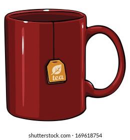 vector cartoon mug with tea bag