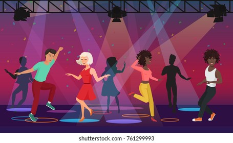 Vector Cartoon multi ethic people dancing in colorful spotlights at disco club. Night party.
