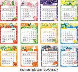 Vector cartoon multicolored calendar of 2016
