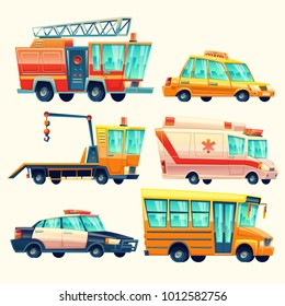 Vector cartoon municipal city services, emergency, police car, firetruck, ambulance, taxi transport, school bus, evacuator, social, public urban occupations Great illustration for networking, web
