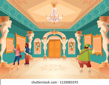 Vector cartoon museum exhibition with pictures and visitors in royal ballroom with atlas columns. Art gallery with sculptures, excursion. Ancient hall interior, exposition background