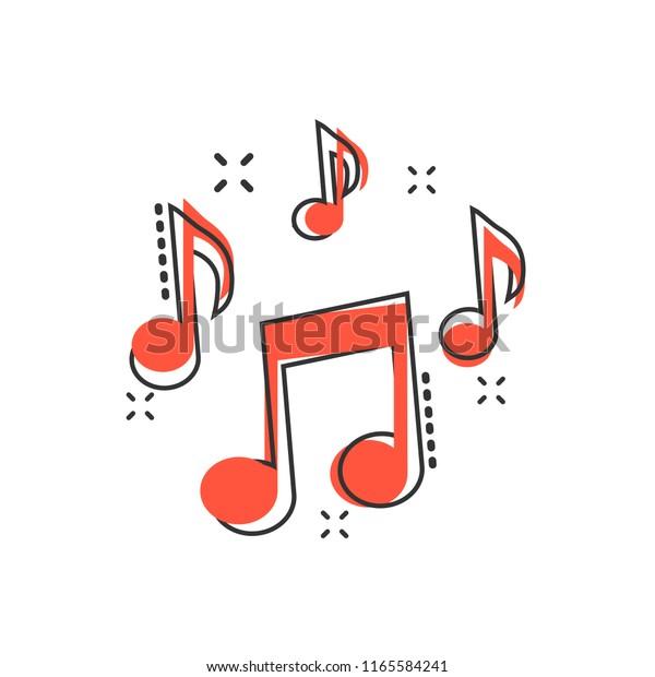 Векторный мультфильм музыка ноты иконки в комическом стиле. Пиктограмма концепции звукового носителя. Аудио примечание бизнес-эффект всплеска концепции.